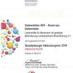 Urkunde Inklusionspreis 2019